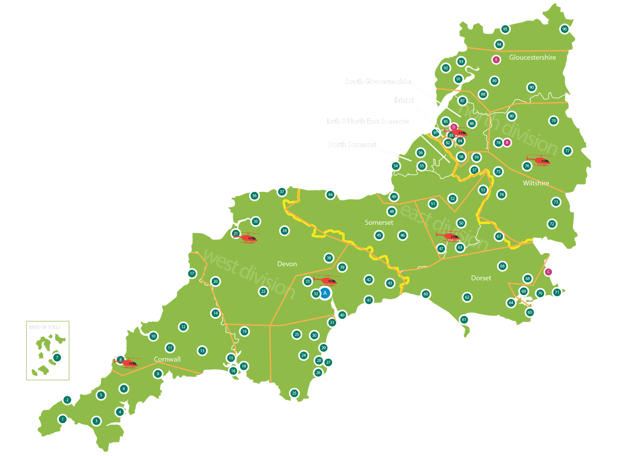 Areas covered by the South Western Ambulance Service